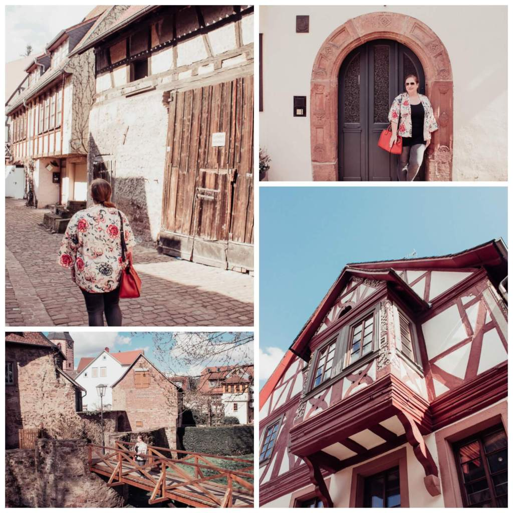 Multiple images of a woman exploring the German town of Michelstadt