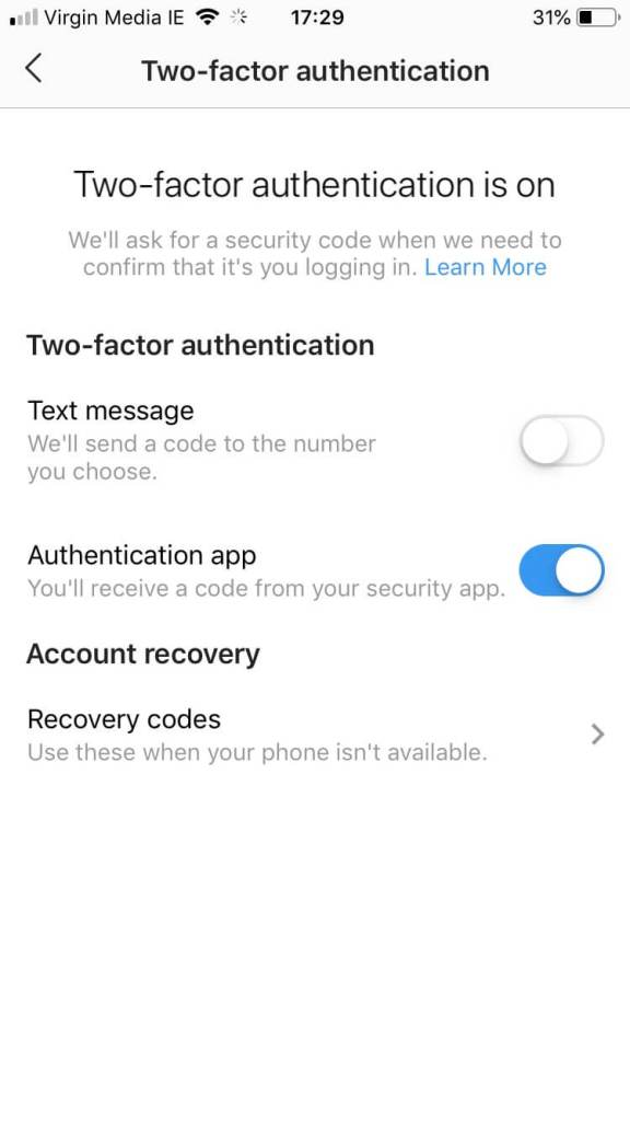 Image showing you how to turn on two factor authentication and how to protect your instagram account from being hacked.