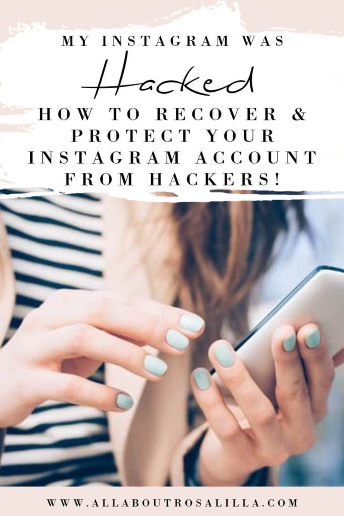 Image of a woman looking at Instagram on her phone with text overlay on what to do if your Instagram account was hacked and deleted