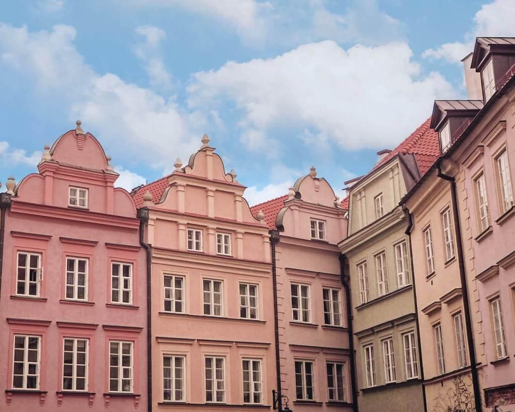 Pastel buildings in Warsaw