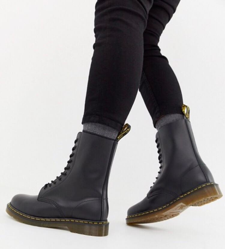 Dr Martens 1490 10-eye boots in black  from Asos