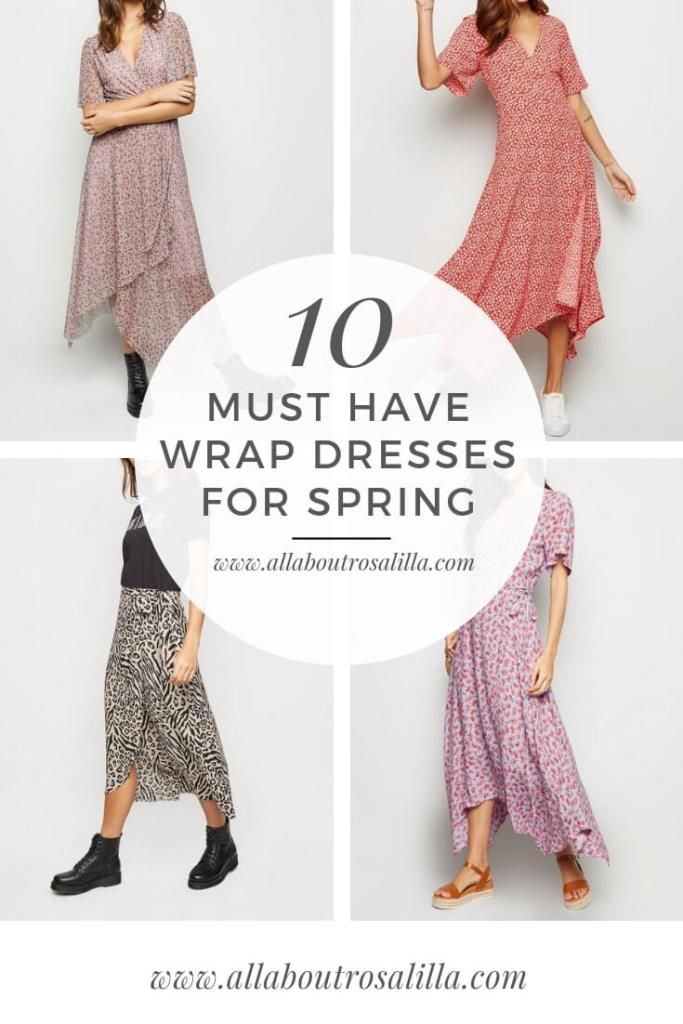 My top ten must have wrap dresses for spring. Read more on www.allaboutrosalilla.com #womensstyle #wrapdress #springfashion #tuesdayten #plussizefashion #mediumsizefashion #womensfashion