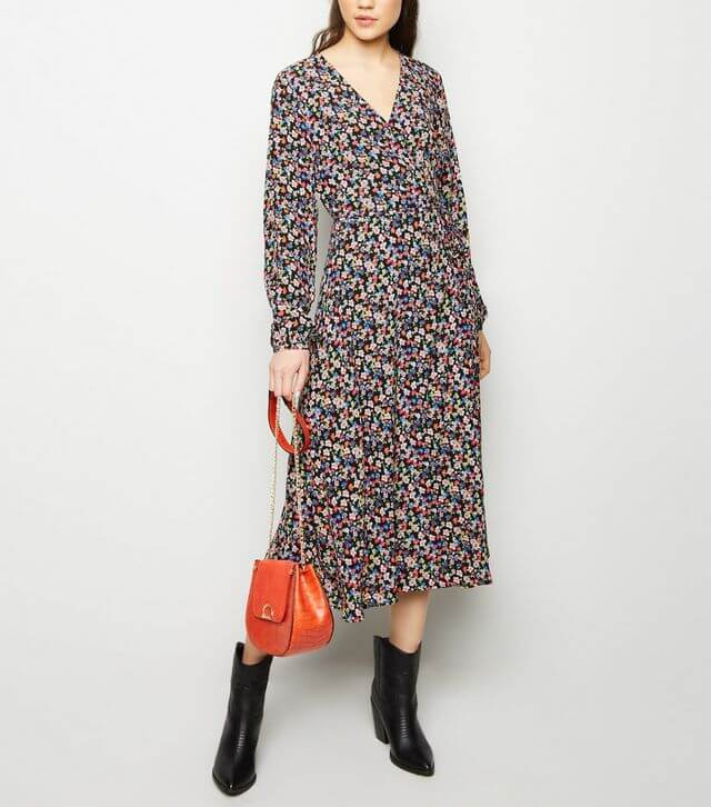 Black Bright Floral Long Sleeve Midi Wrap Dress for Spring from New Look