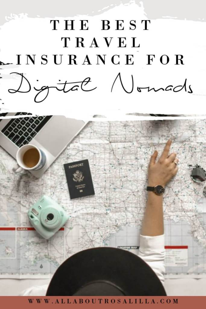 Picture of a woman pointing at a world map with text overlay The best travel insurance for digital nomads