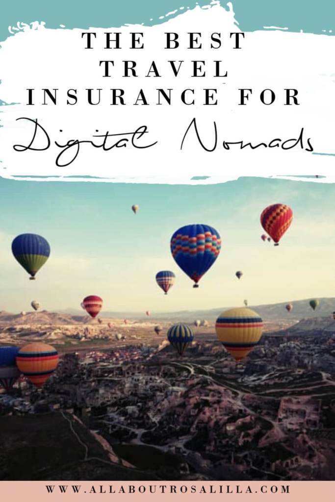 Balloons over Cappadocia with text overlay nomad travel insurance for long term travellers
