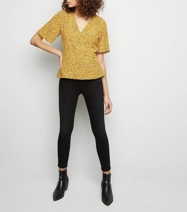Yellow Spot Print Button Side Wrap Top from New Look