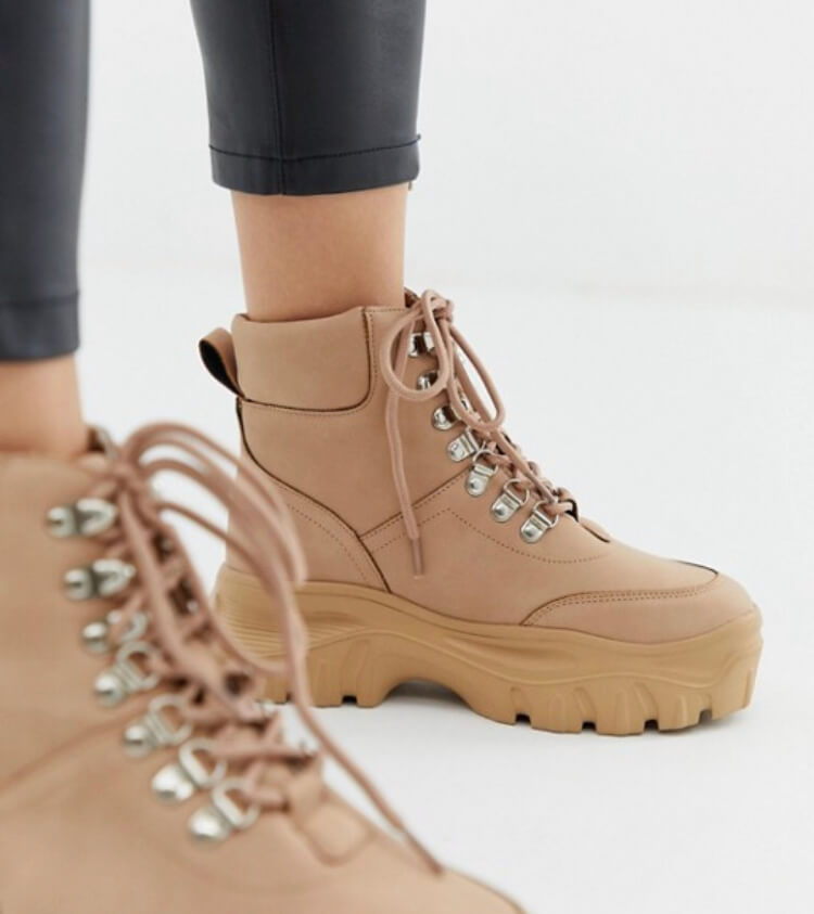 Public Desire Husky blush chunky trainers.