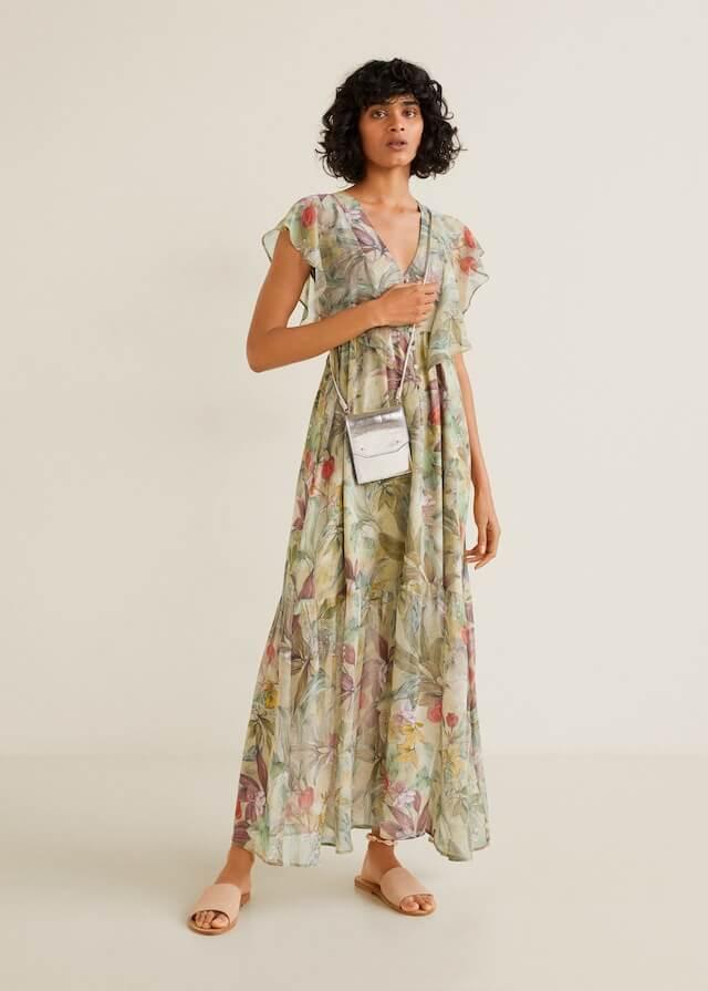 6. Mango Flower Chiffon Dress