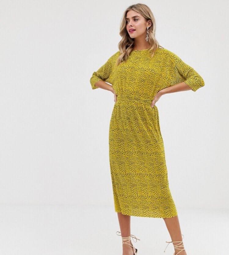 ASOS DESIGN plisse midi dress with elasticated waist in spot print