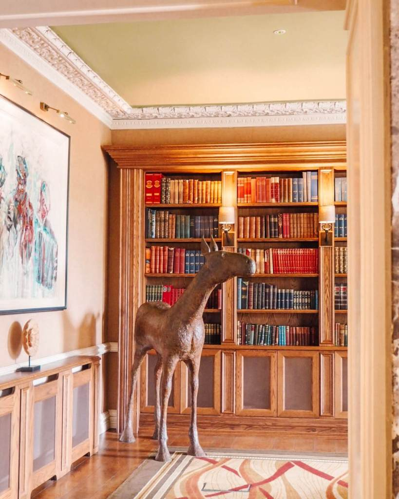 Library at hotel in the country