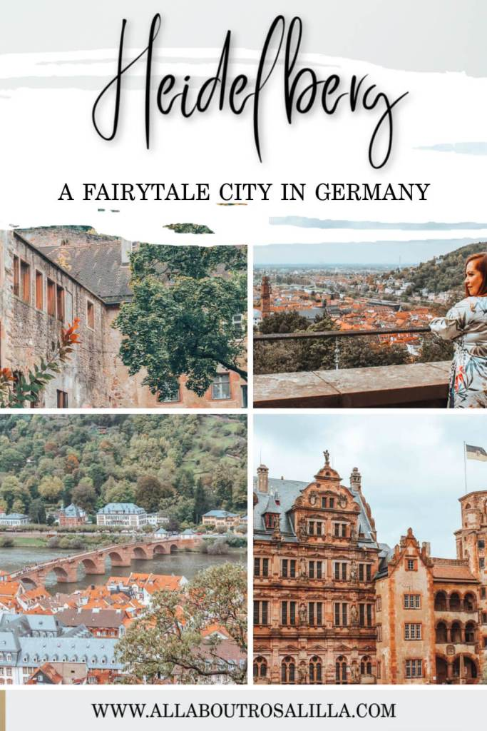 Images of Heidelberg city with text overlay how to spend one day in Heidelberg germany