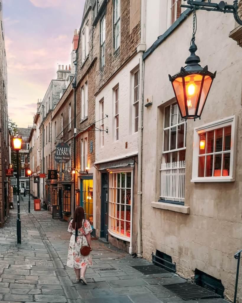 The pretty streets of Bath England.