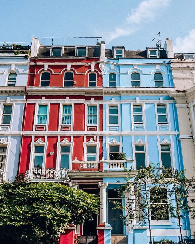 Rainbow houses of Notting Hill London.