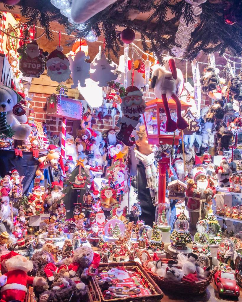 Christmas decorations for sale at the Christmas markets in Colmar.