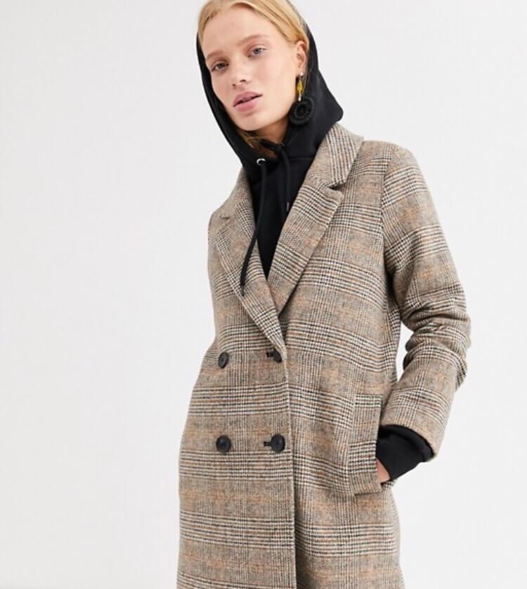 Brown Check Monki Coat Asos