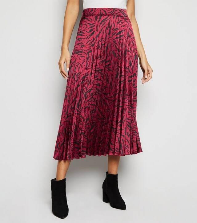 Plum tiger print satin skirt