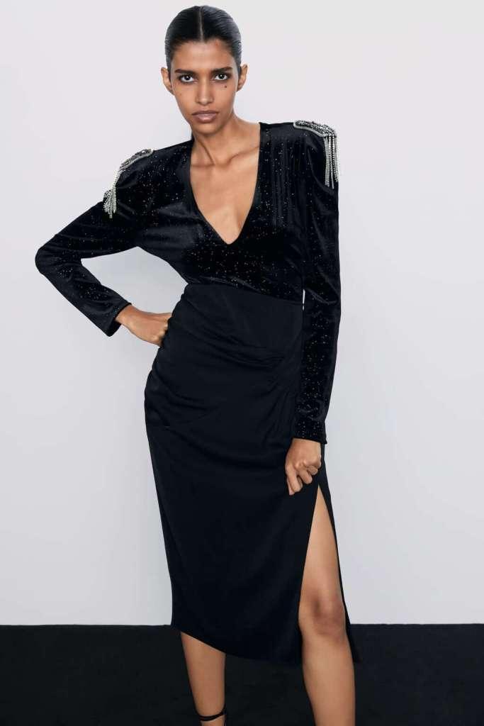 Zara Shimmery Velvet Body Suit €29.95