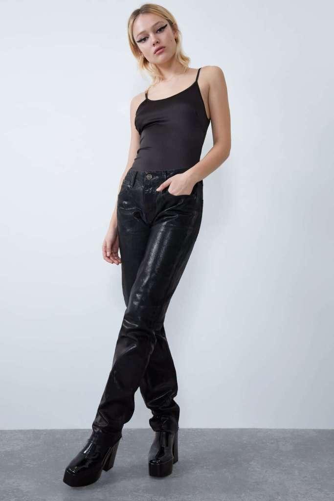 Zara satin bodysuit in black.