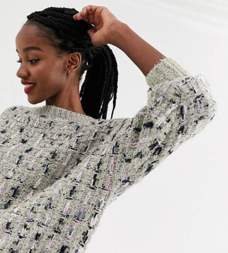 ASOS DESIGN metallic check jumper in tinsel yarn with volume sleeve