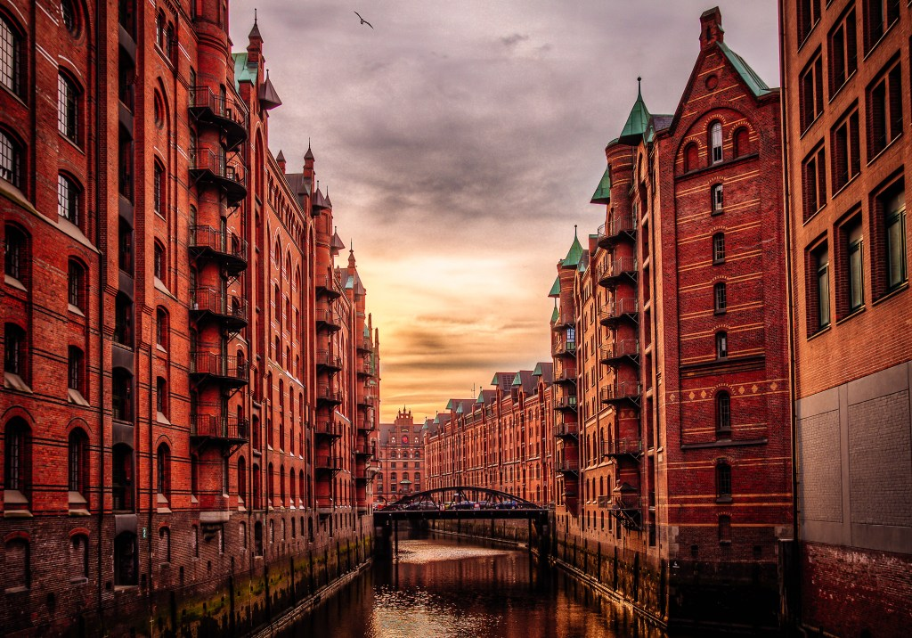 Canals and bridges of Hamburg Germany