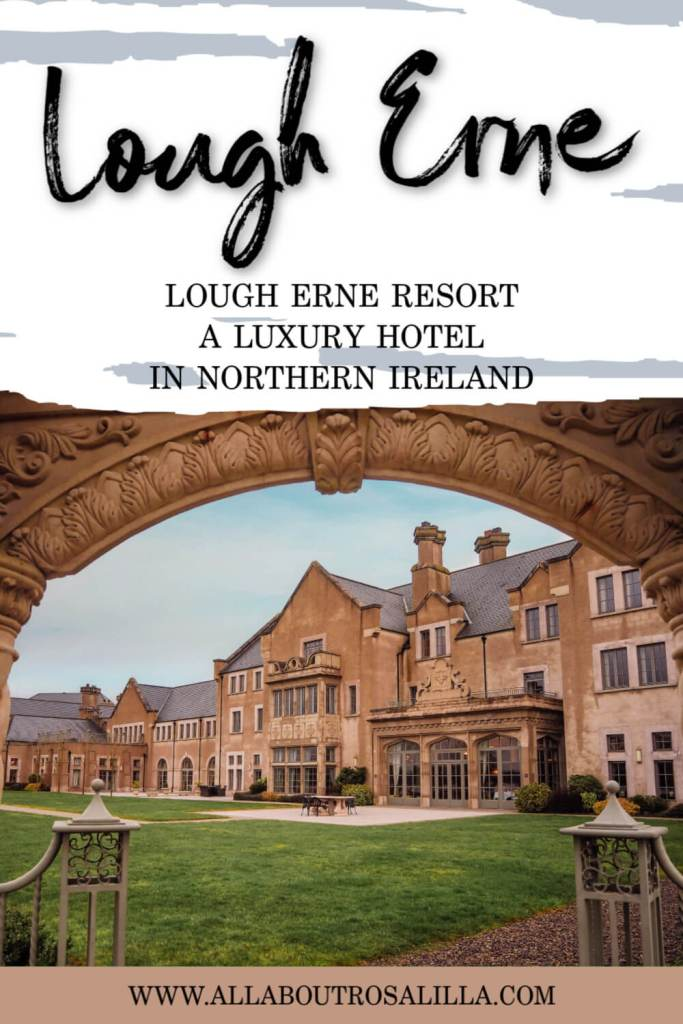 Image of Lough Erne resort with text overlay Lough Erne resort, a luxury hotel in Northern Ireland