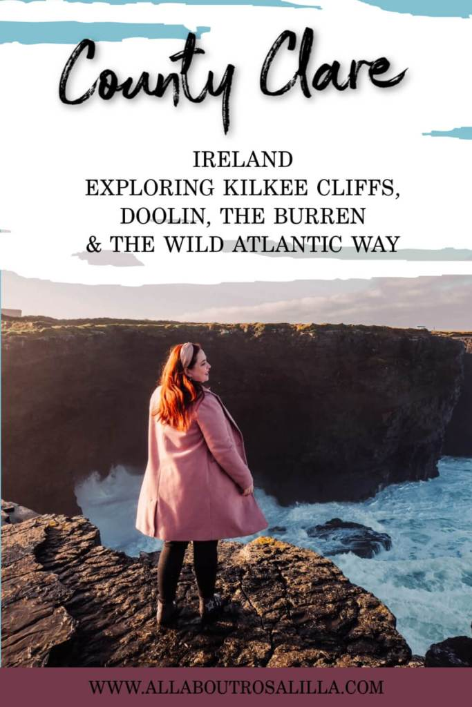 Womanin a pink coat standing at Kilkee Cliffs in County Clare with text overlay