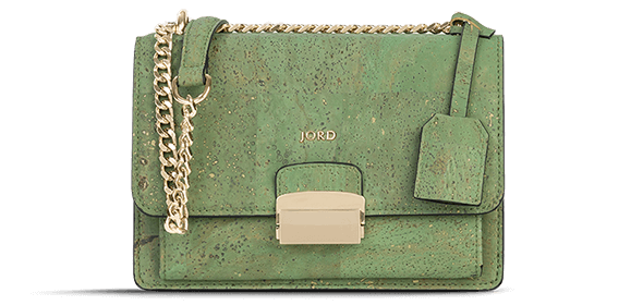A green suberhide handbag with gold chain detail