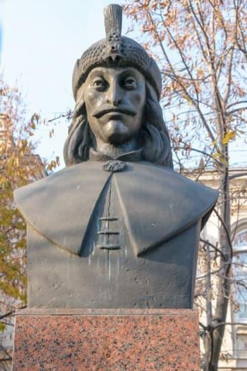Vlad Tepes bust statue also know as Dracul Dracula one of the many things to do in Sighisoara Romania
