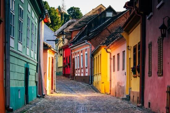 Colourful streets of Sighisoara Transylvania Romania