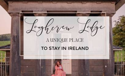 Image of Loughcrew Lodge with text overlay unique places to stay in Ireland