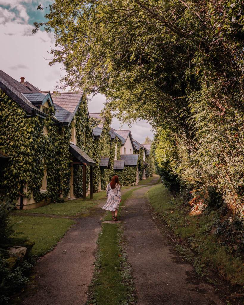 Woman walking the grounds of Brooklodge Hotel Ireland