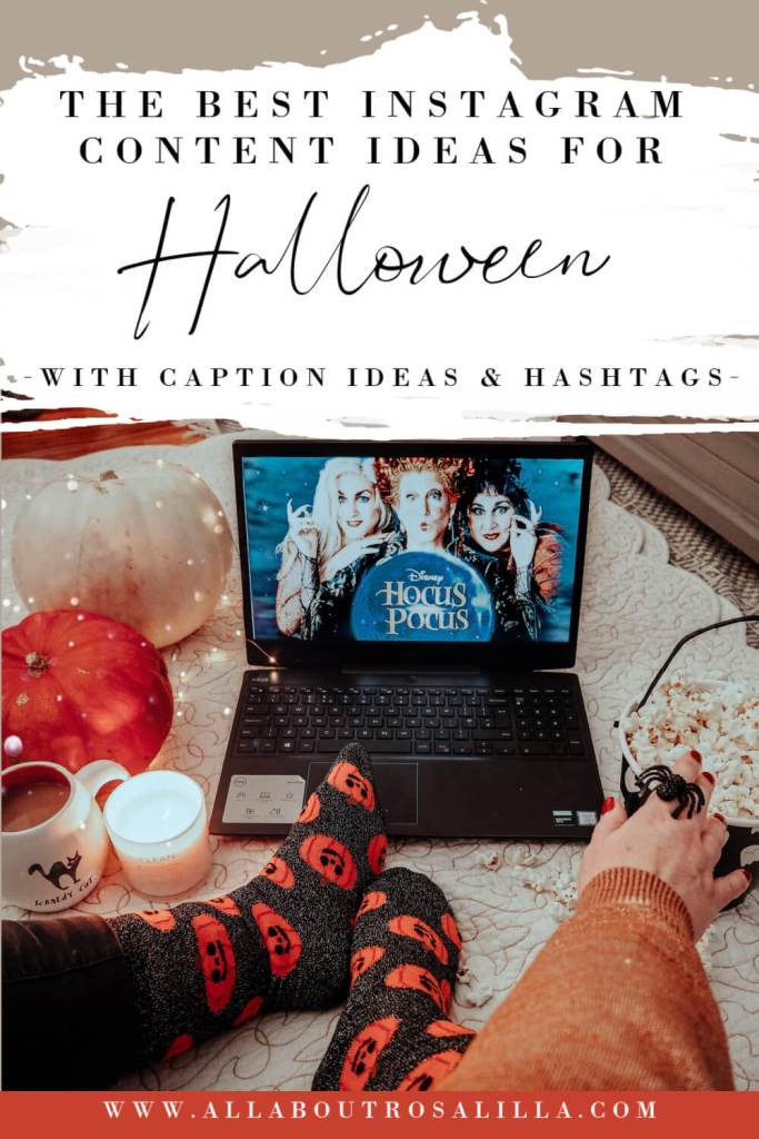 Women watching Hocus pocus on her computer with text overlay Halloween Instagram Ideas