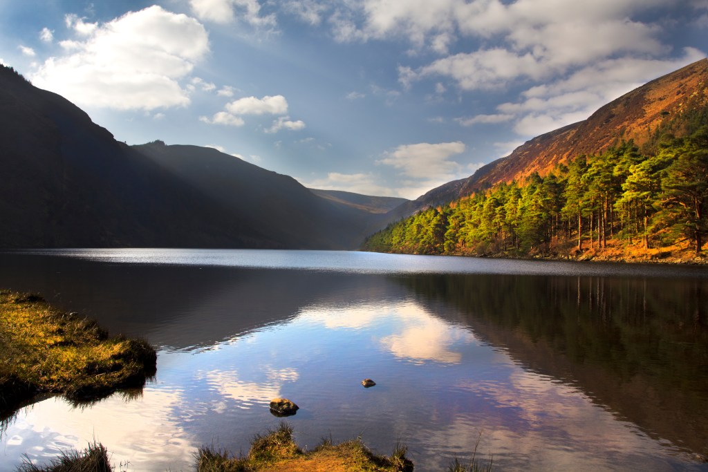 Lower lake of Glendalough during autumn in Wicklow Ireland