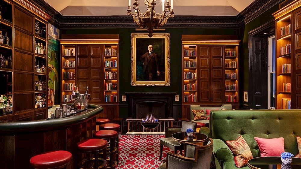Library bar at The Shelbourne Hotel in Dublin, a haunted hotel in Ireland