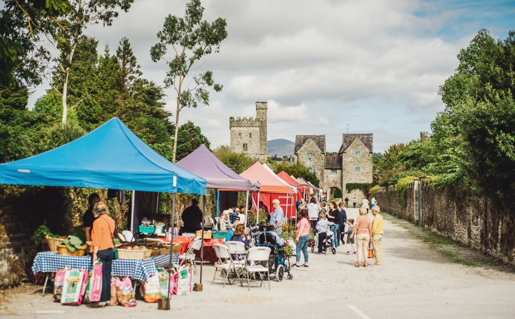 Bustling market in Lismore town in Irelands ancient east