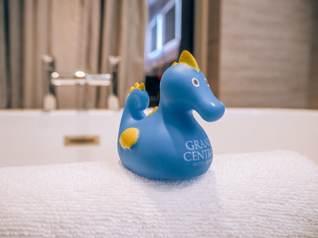 Rubber duck seahorse at the grand central hotel in Belfast