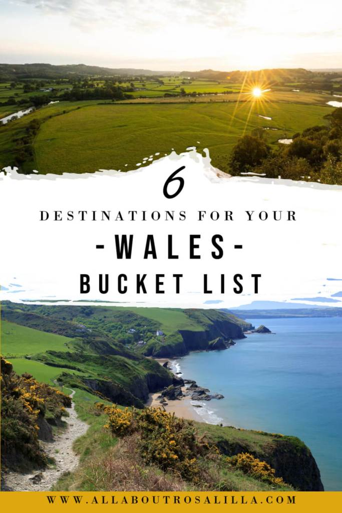 Image of Welsh countryside with text overlay Six Wales bucket list destinations along the celtic routes