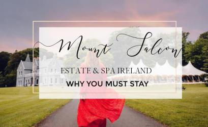 Image of a woman in a red dress with text overlay Mount Falcon Estate and Spa Ireland Why you must stay