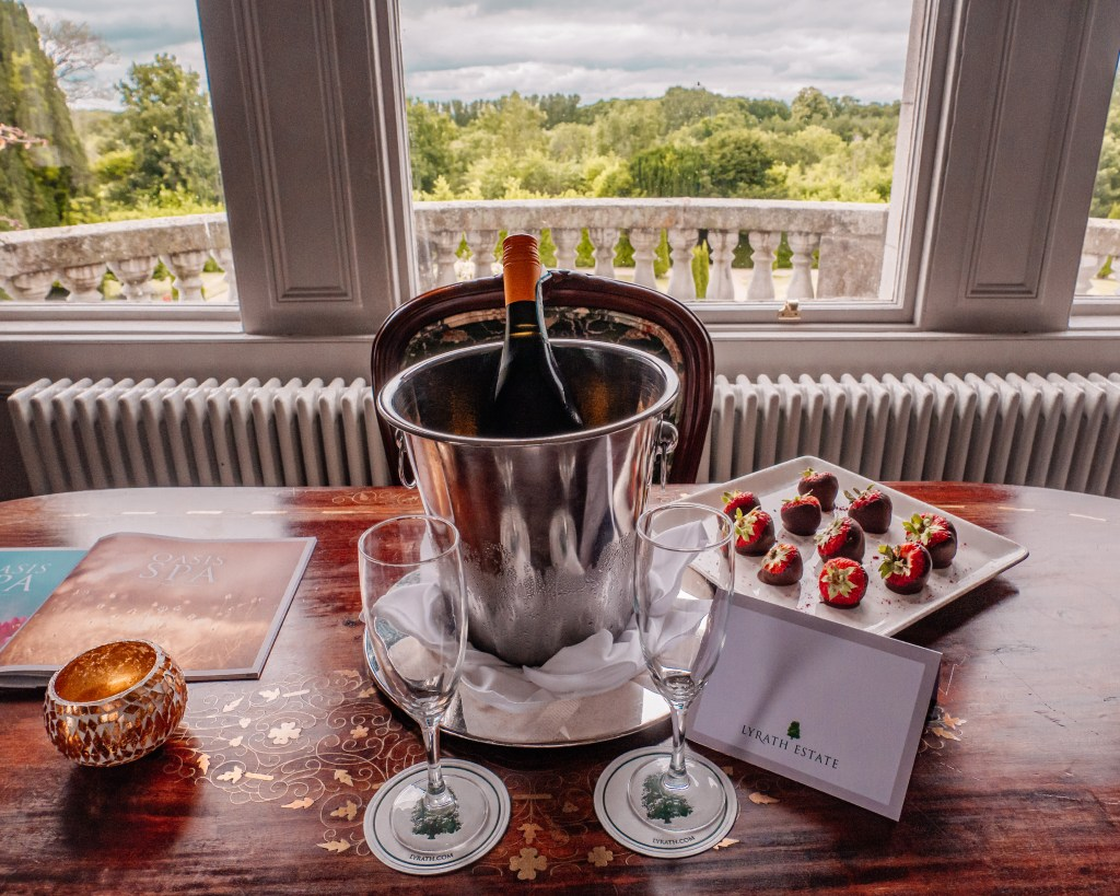 Champagne and chocolate covered strawberries at the Lyrath Estate and Spa Kilkenny Ireland