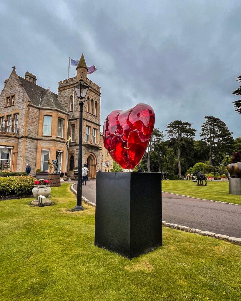 Patrick O'Reilly broken heart sculpture at Culloden Estate's art and soul exhibit
