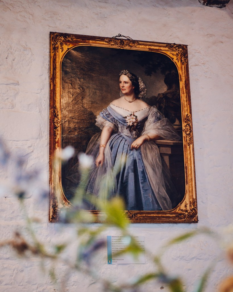 Oil painting of a woman on the walls of Rothe house in Kilkenny Ireland