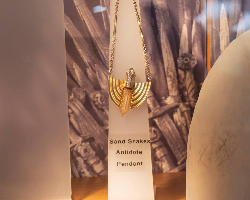 Ellaria Sand's Pendant Game of Thrones on display at Steensons jewellers in Glenarm