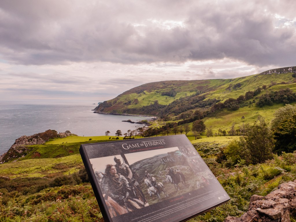 Game of Thrones sign showing which Game of Thrones scenes were filmed at Murlough Bay in Northern Ireland