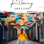 Woman looking at an umbrella sky with text overlay how to spend the best weekend in Kilkenny Ireland