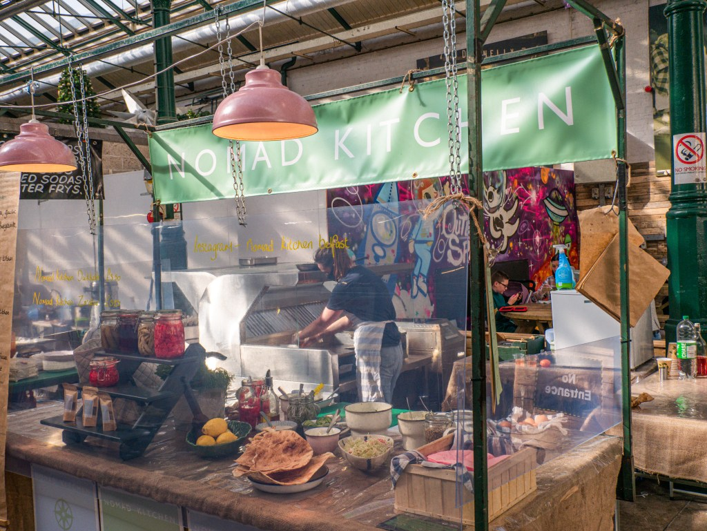 Food stall at St George's market on a walking tour of Belfast