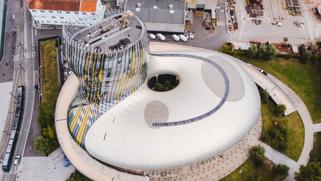 Aerial view of Cite du Vin one of the many things to see in Bordeaux France