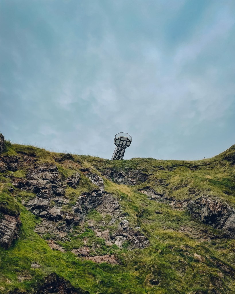 Viewing tower at the gobbins cliff walk in antrim northern ireland