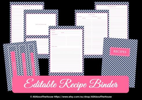 Editable Recipe Binder Navy & Pink