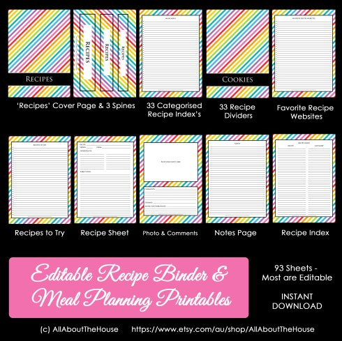Rainbow Recipe Binder Meal Planner
