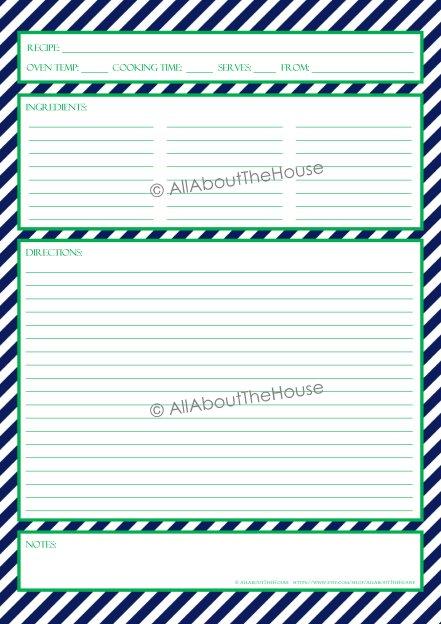 Stripe Recipe Sheet Style 3